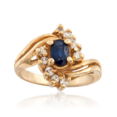 C. 1980 Vintage .45 Carat Sapphire and .25 ct. t.w. Diamond Ring in 14kt Yellow Gold, , default