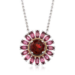 "1.40 Carat Rhodolite and 1.10 ct. t.w. Pink Tourmaline Starburst Necklace in Sterling and 14kt Gold. 18"", , default"
