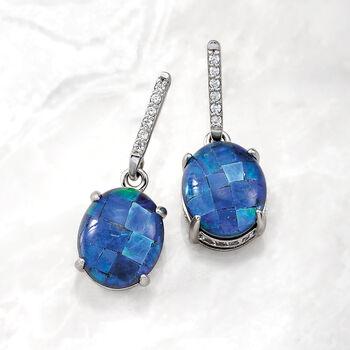 Multi-Gemstone and .50 ct. t.w. White Zircon Triplet Drop Earrings in Sterling Silver, , default