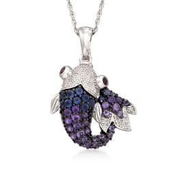 ".70 ct. t.w. Amethyst and .30 ct. t.w. Iolite Koi Necklace With Diamonds and Garnets in Sterling Silver. 18"", , default"