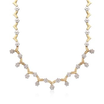 "C. 1990 Vintage 2.65 ct. t.w. Diamond Floral Necklace in 18kt Two-Tone Gold. 16.5"", , default"