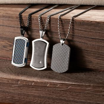 """Men's Black and Blue Stainless Steel and Carbon Fiber Dog Tag Pendant Necklace. 24"""", , default"""