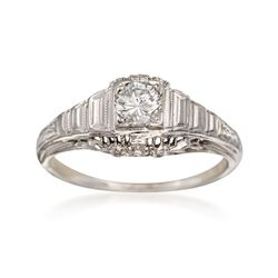 C. 1950 Vintage .35 Carat Diamond Floral Solitaire Ring in 18kt White Gold. Size 4.5, , default