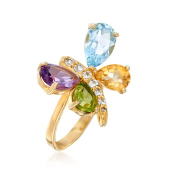 5.70 ct. t.w. Multi-Stone Butterfly Ring in 18kt Gold Over Sterling