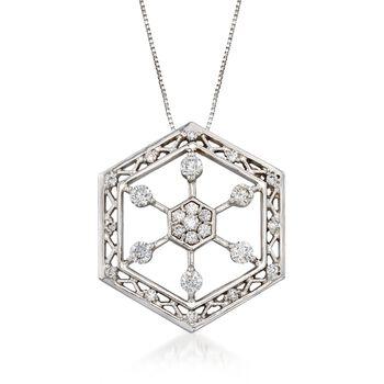 "C. 1990 Vintage .75 ct. t.w. Diamond Hexagon Snowflake Pendant Necklace in 14kt White Gold. 18"", , default"