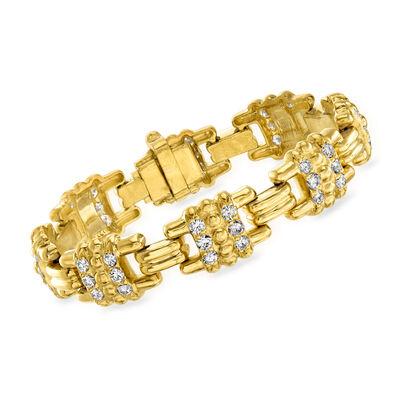 C. 1990 Vintage Judith Ripka 3.05 ct. t.w. Diamond Link Bracelet in 18kt Yellow Gold