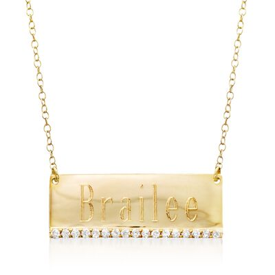 .27 ct. t.w. Diamond Name Bar Necklace in 14kt Yellow Gold, , default