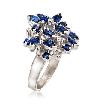 C. 1970 Vintage 3.00 ct. t.w. Sapphire Cluster Ring with Diamond Accents in 18kt White Gold. Size 8.5, , default