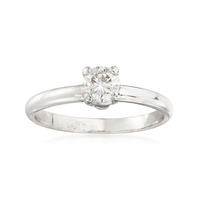 C. 1990 Vintage .50 Carat Diamond Solitaire Ring in 14kt White Gold. Size 7, , default