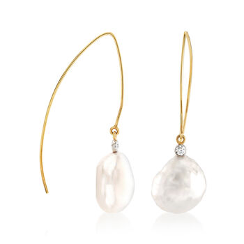 Mazza 16x14mm Baroque Cultured Pearl and .20 ct. t.w. Diamond Drop Earrings in 14kt Yellow Gold