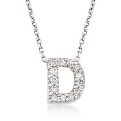 "Roberto Coin ""Tiny Treasures"" Diamond Accent Initial ""D"" Necklace in 18kt White Gold. 16"", , default"
