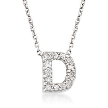 """Roberto Coin """"Tiny Treasures"""" Diamond Accent Initial """"D"""" Necklace in 18kt White Gold. 16"""", , default"""