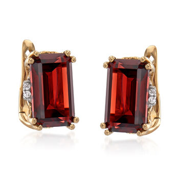 5.25 ct. t.w. Garnet Earrings with Diamond Accents in 14kt Yellow Gold