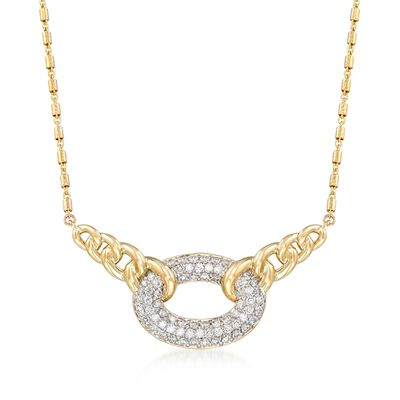 1.07 ct. t.w. Pave Diamond Link Centerpiece Necklace in 14kt Yellow Gold, , default