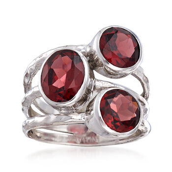 4.90 ct. t.w. Garnet Multi-Row Ring in Sterling Silver, , default