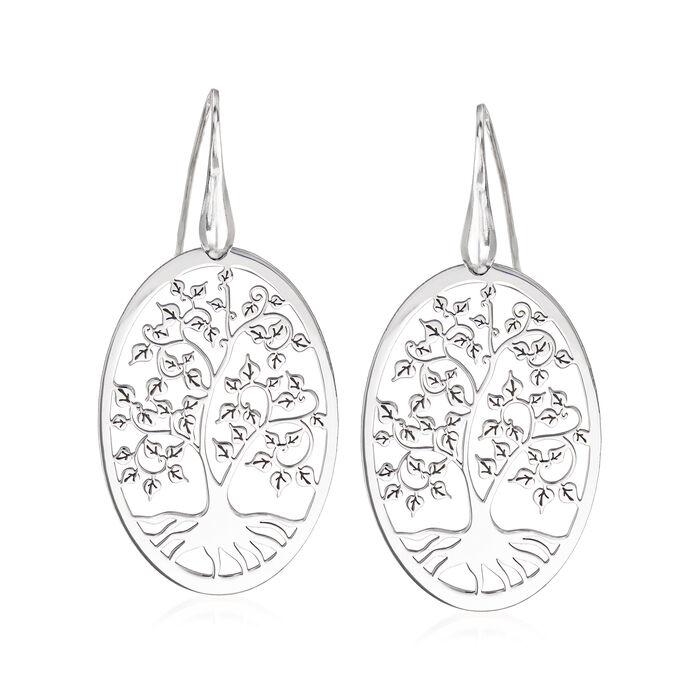 Italian Sterling Silver Oval Cut-Out Tree of Life Drop Earrings