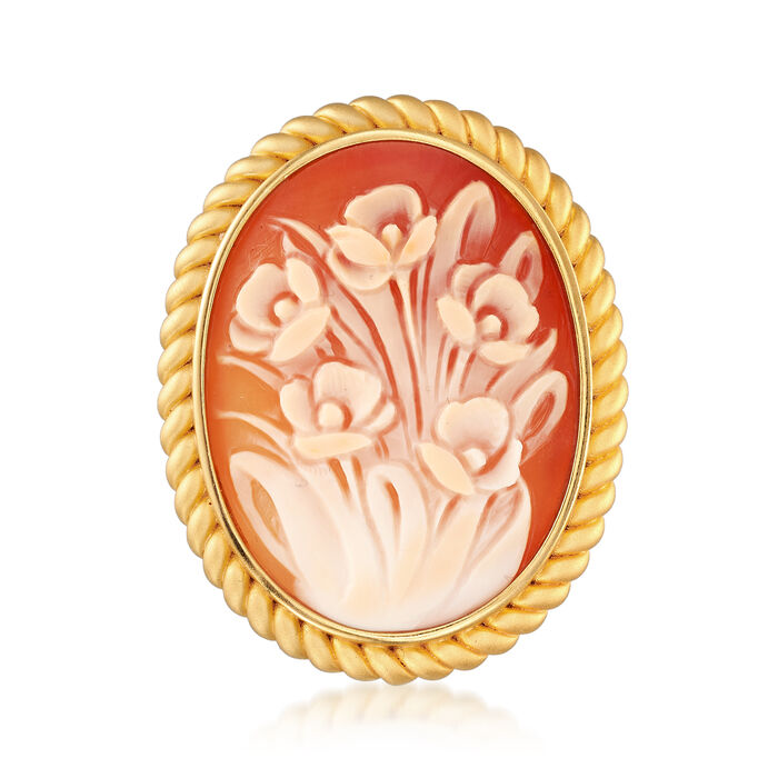 38x28mm Shell Cameo Flower Pin Pendant in 18kt Yellow Gold Over Sterling Silver, , default