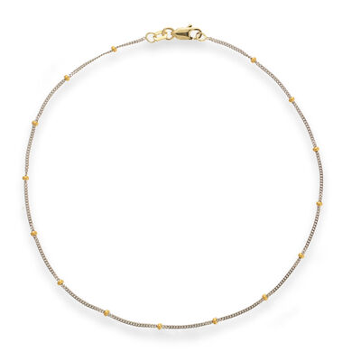 14kt Two-Tone Gold Curb Chain with Beads Anklet, , default