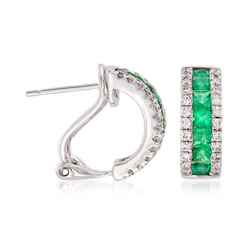 """.65 ct. t.w. Emerald and .30 ct. t.w. Diamond Hoop Earrings in 14kt White Gold. 3/8"""""""