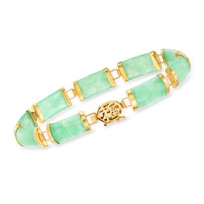 Green Jade Bracelet in 14kt Yellow Gold