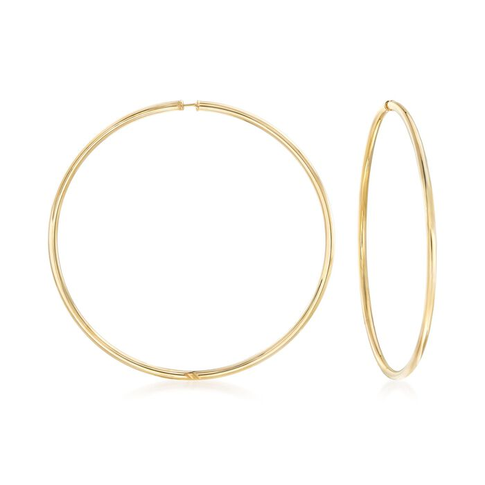 "2.5mm 14kt Yellow Gold Endless Hoop Earrings. 2 5/8"", , default"