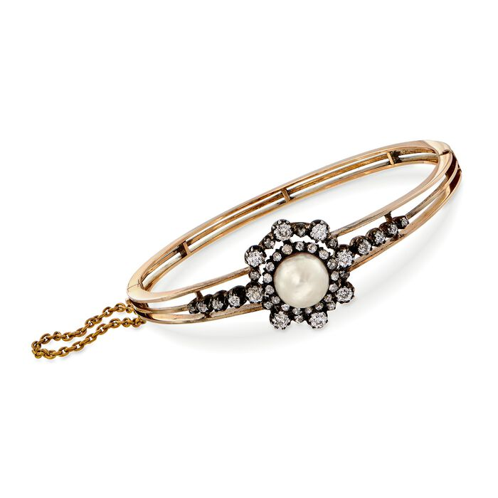 "C. 1900 Vintage 9mm Cultured Pearl and 1.95 ct. t.w. Diamond Bangle Bracelet in 14kt Two-Tone Gold. 7"", , default"