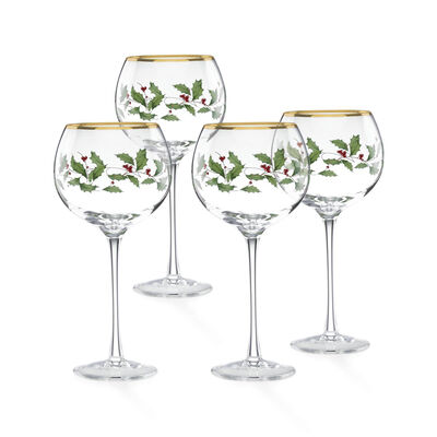 "Lenox ""Holiday"" Set of 4 Decal Balloon Glasses, , default"