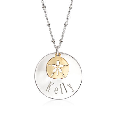 Sterling Silver Personalized Disc Necklace with 14kt Yellow Gold Sand Dollar Charm, , default