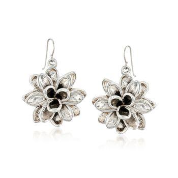 Sterling Silver Dahlia Flower Drop Earrings, , default