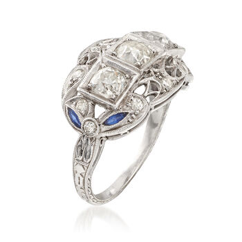 C. 1980 Vintage 1.20 ct. t.w. Diamond Ring with Simulated Sapphire Accents in Platinum . Size 5.5