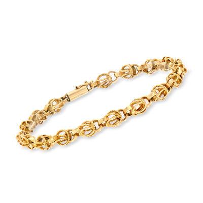 C. 1980 Vintage 14kt Yellow Gold Barrel-Link Bracelet, , default