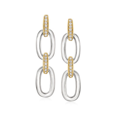 .24 ct. t.w. Diamond-Link Drop Earrings in Sterling Silver and 14kt Yellow Gold