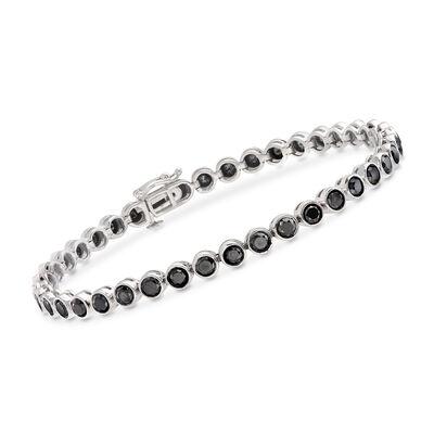 5.00 ct. t.w. Bezel-Set Black Diamond Tennis Bracelet in Sterling Silver, , default