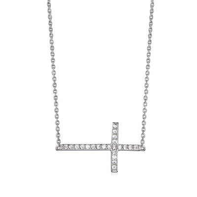 .10 ct. t.w. CZ Sideways Cross Necklace in Sterling Silver, , default
