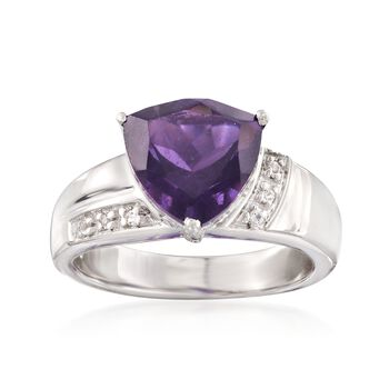 2.50 Carat Amethyst Ring With White Topaz Accents in Sterling Silver, , default