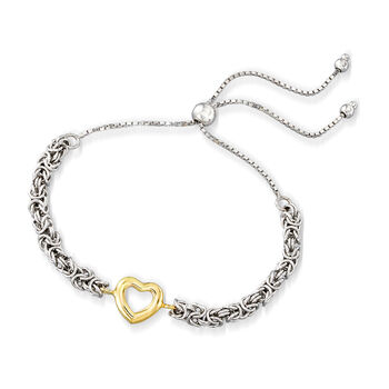 Open-Space Heart Byzantine Bolo Bracelet in Sterling Silver and 14kt Yellow Gold, , default