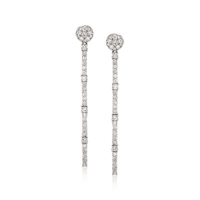 2.09 ct. t.w. Diamond Linear Drop Earrings in 18kt White Gold