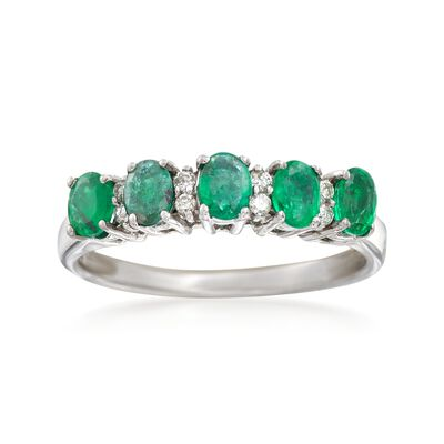 .70 ct. t.w. Emerald and .10 ct. t.w. Diamond Ring in 14kt White Gold, , default