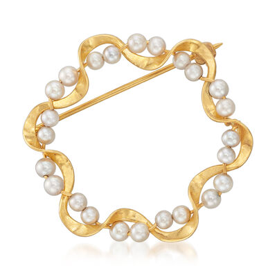 C. 1980 Vintage 2.5mm Cultured Pearl Pin in 14kt Yellow Gold, , default