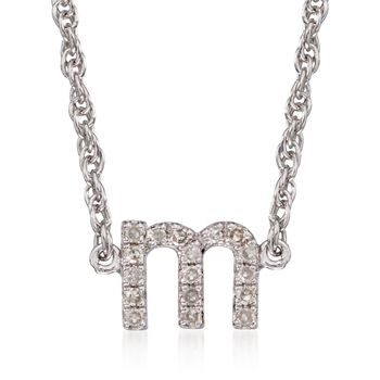 Diamond Accent Mini Initial Necklace in Sterling Silver, , default