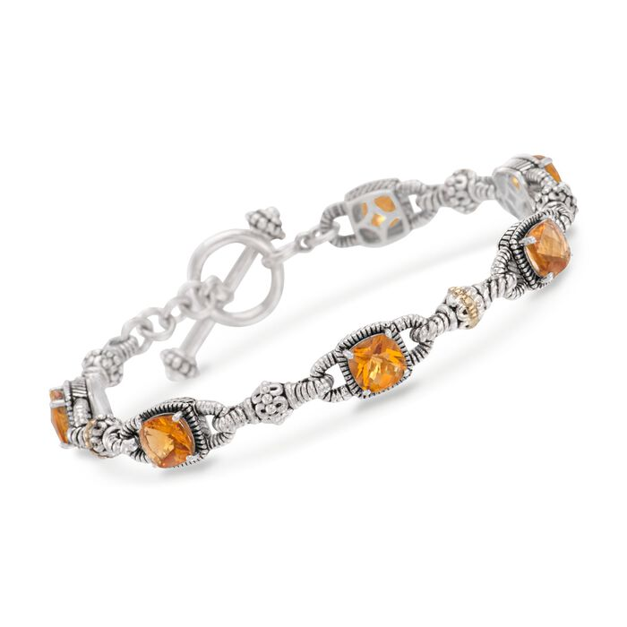 5.15 ct. t.w. Citrine Bracelet in Sterling Silver and 14kt Yellow Gold. 7""