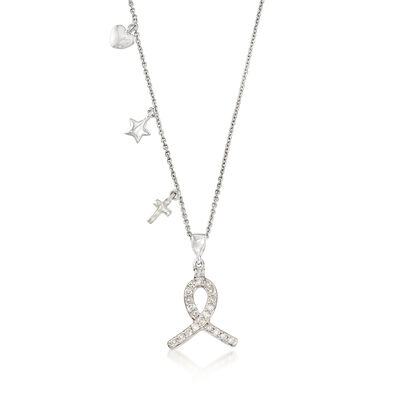 .25 ct. t.w. Diamond Ribbon Pendant Necklace in Sterling Silver, , default