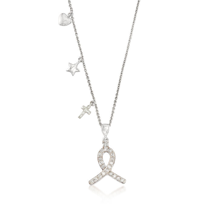 .25 ct. t.w. Diamond Ribbon Pendant Necklace in Sterling Silver