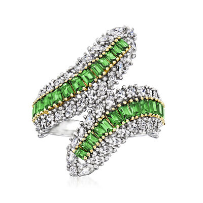 .96 ct. t.w. Simulated Emerald and .93 ct. t.w. CZ Bypass Ring in Two-Tone Sterling Silver