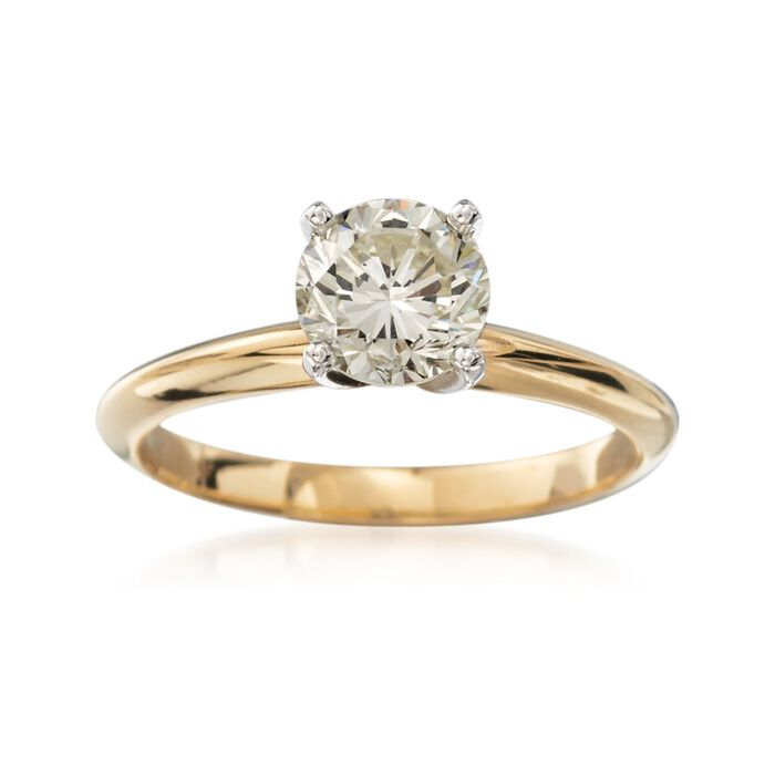 C. 2000 Vintage 1.17 Carat Diamond Solitaire Engagement Ring in 14kt Yellow Gold. Size 6.25
