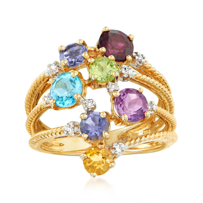 C. 1980 Vintage 2.28 ct. t.w. Multi-Gemstone Cluster Ring in 14kt Yellow Gold. Size 7, , default