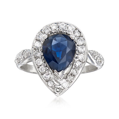 C. 1990 Vintage 1.60 Carat Sapphire and 1.00 ct. t.w. Diamond Ring in 14kt White Gold