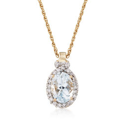 ".60 Carat Aquamarine and .11 ct. t.w. Diamond Pendant Necklace in 14kt Yellow Gold. 18"", , default"