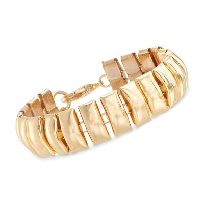 Gold-Plated Metal Long Bar Bracelet, , default
