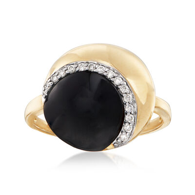 9.5x10mm Black Onyx and .10 ct. t.w. Diamond Ring in 14kt Yellow Gold, , default